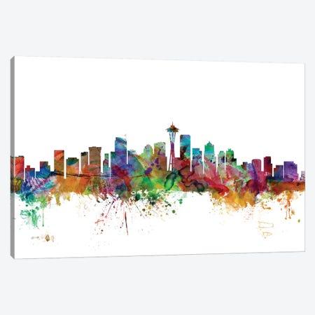 Seattle, Washington Skyline Canvas Print #MTO1157} by Michael Tompsett Canvas Print