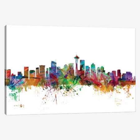 Seattle, Washington Skyline Canvas Print #MTO1157} by Michael Tompsett Canvas Print