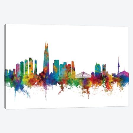 Seoul, South Korea Skyline Canvas Print #MTO1158} by Michael Tompsett Canvas Wall Art