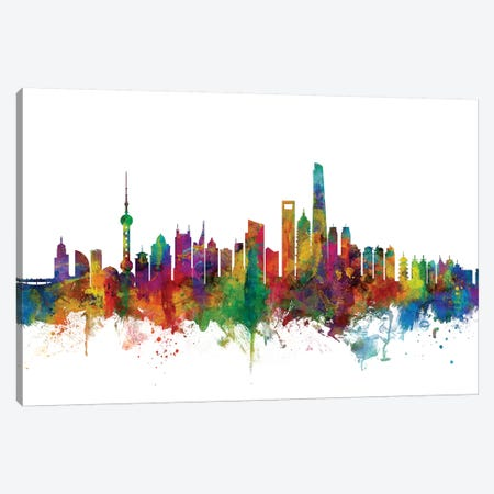Shanghai, China Skyline Canvas Print #MTO1159} by Michael Tompsett Canvas Artwork
