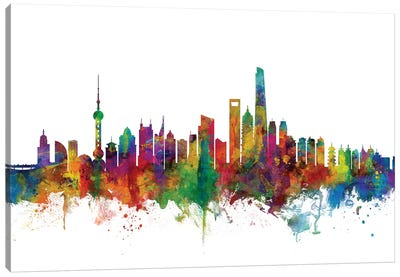 Shanghai, China Skyline Canvas Art Print