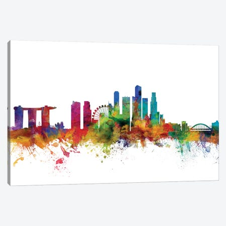 Singapore Skyline Canvas Print #MTO1162} by Michael Tompsett Art Print