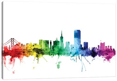 Rainbow Skyline Series: San Francisco, California, USA Canvas Print #MTO116