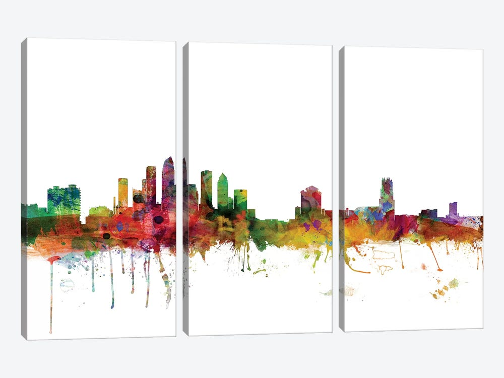 Tampa, Florida Skyline by Michael Tompsett 3-piece Canvas Print