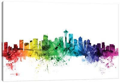 Rainbow Skyline Series: Seattle, Washington, USA Canvas Print #MTO117