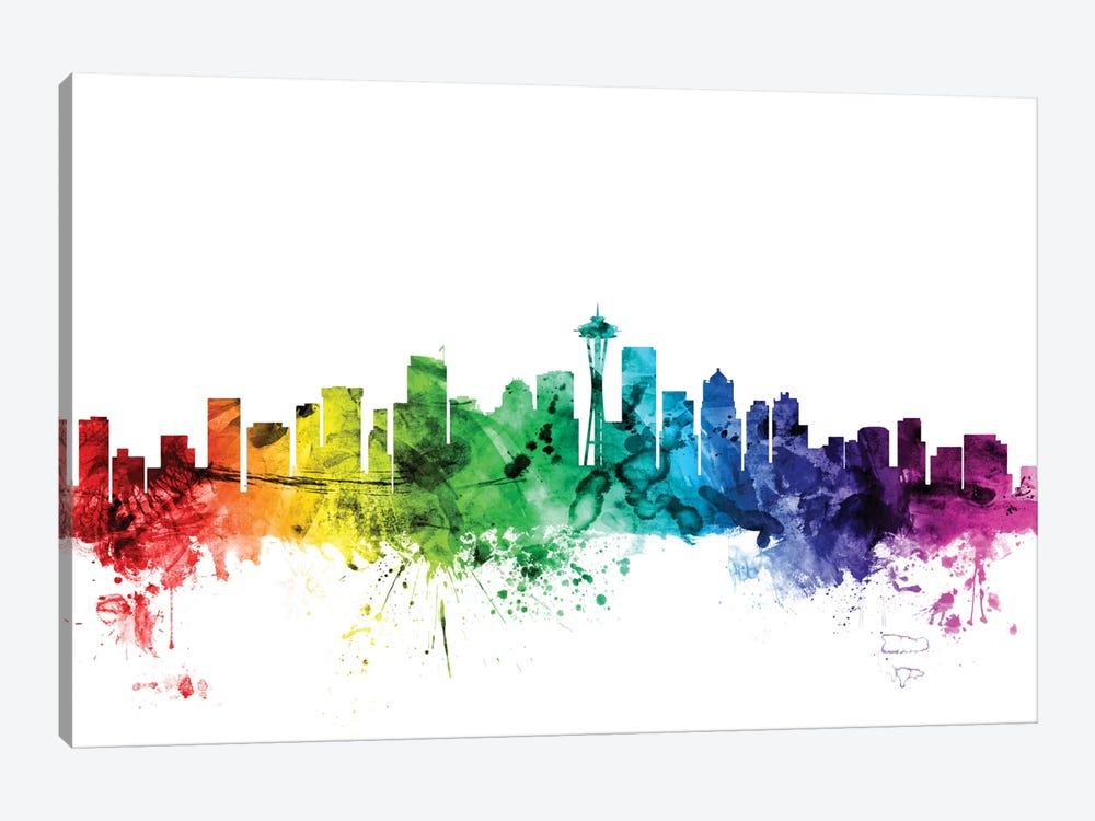 Rainbow Skyline Series: Seattle, Washington, USA by Michael Tompsett 1-piece Canvas Wall Art