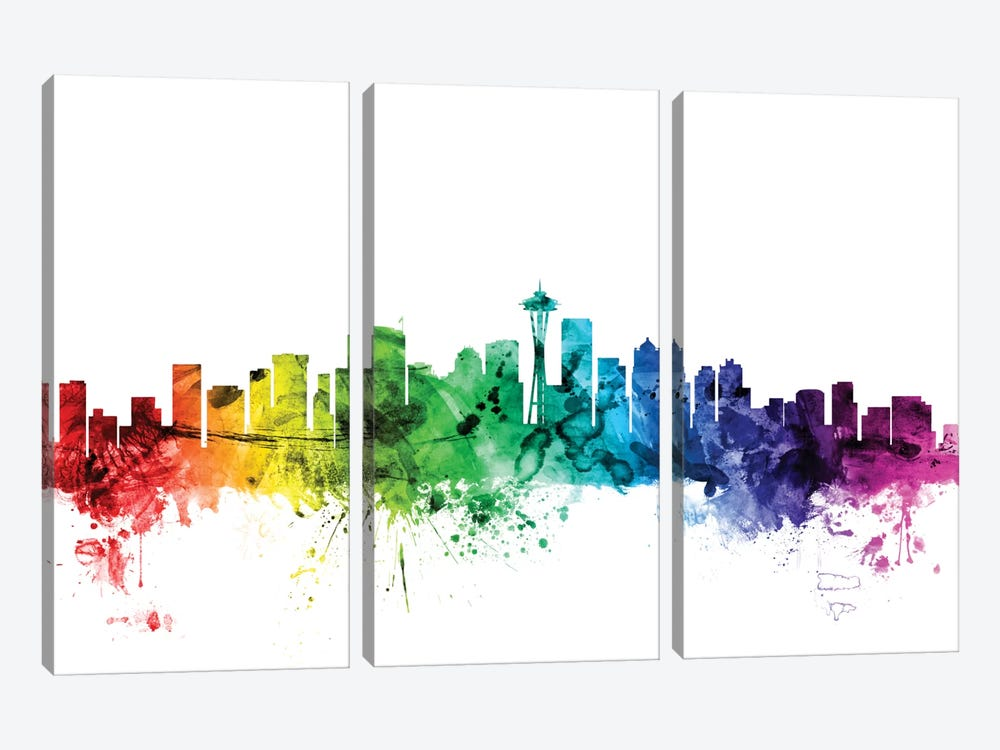 Rainbow Skyline Series: Seattle, Washington, USA by Michael Tompsett 3-piece Canvas Artwork