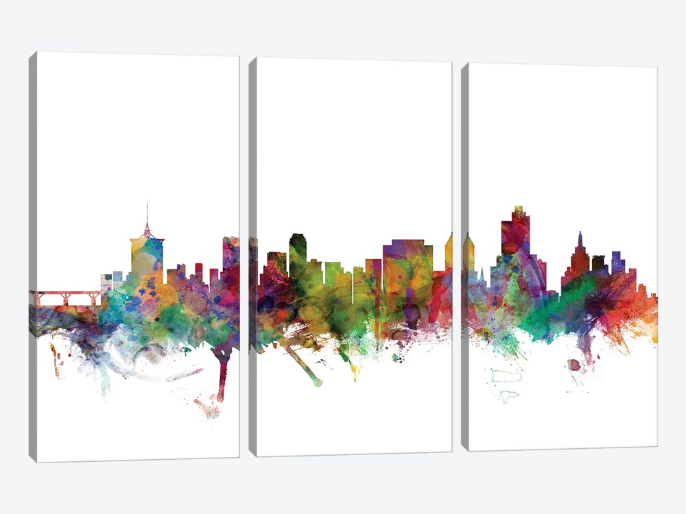 Tulsa, Oklahoma Skyline by Michael Tompsett 3-piece Canvas Art Print