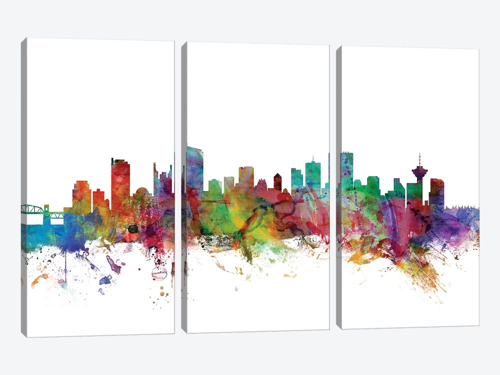 Vancouver, Canada Skyline by Michael Tompsett 3-piece Canvas Art
