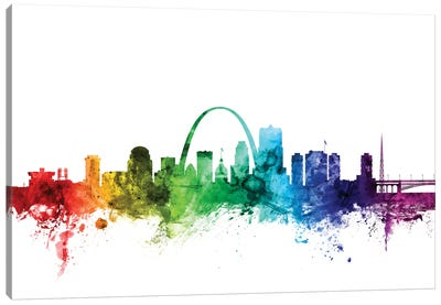 Rainbow Skyline Series: St. Louis, Missouri, USA Canvas Art Print