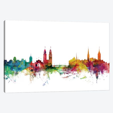 Zurich, Switzerland Skyline Canvas Print #MTO1199} by Michael Tompsett Canvas Wall Art