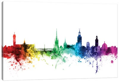 Rainbow Skyline Series: Stockholm, Sweden Canvas Art Print