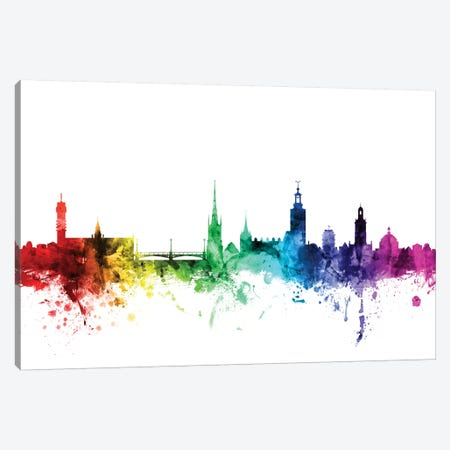 Stockholm, Sweden 3-Piece Canvas #MTO119} by Michael Tompsett Art Print
