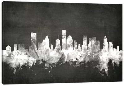 Blackboard Skyline Series: Houston, Texas, USA Canvas Art Print