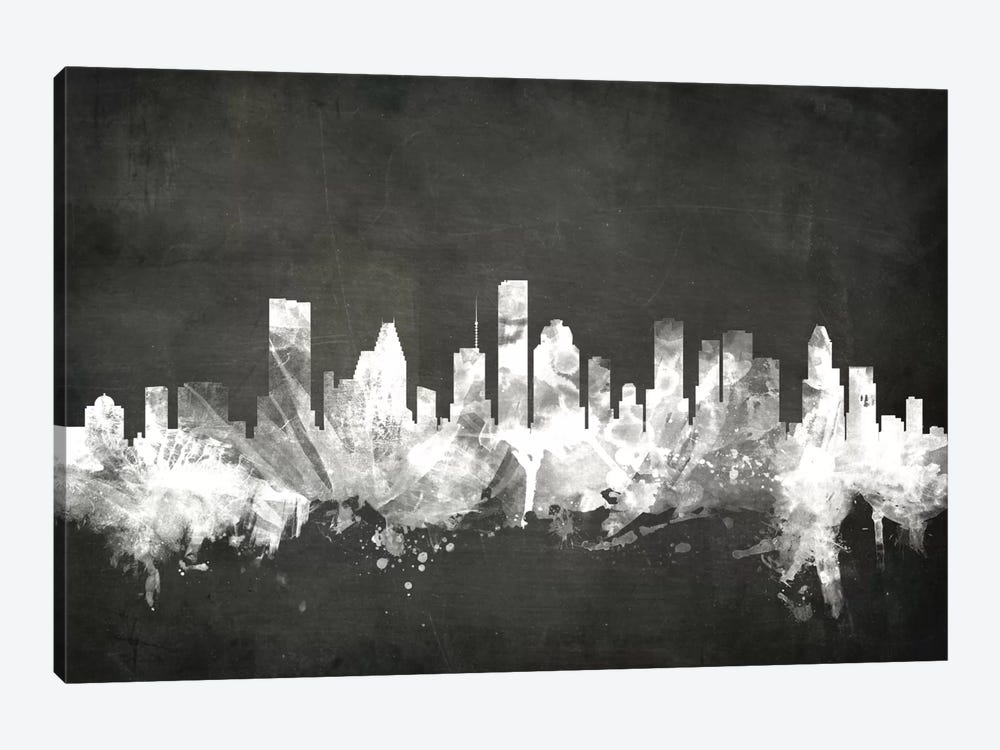 Blackboard Skyline Series: Houston, Texas, USA by Michael Tompsett 1-piece Canvas Art Print