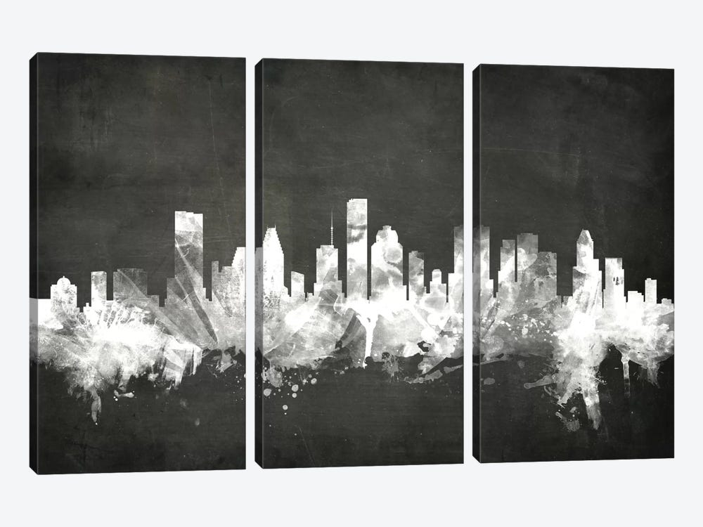 Blackboard Skyline Series: Houston, Texas, USA 3-piece Art Print