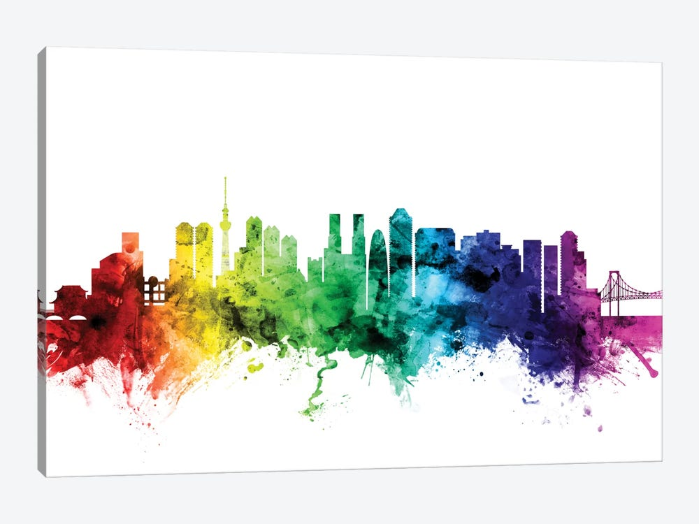 Rainbow Skyline Series: Tokyo, Japan by Michael Tompsett 1-piece Canvas Artwork