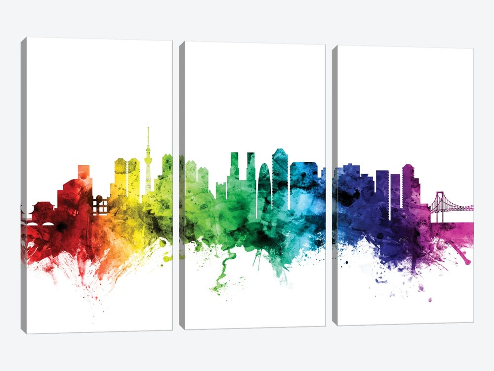 Rainbow Skyline Series: Tokyo, Japan by Michael Tompsett 3-piece Canvas Wall Art