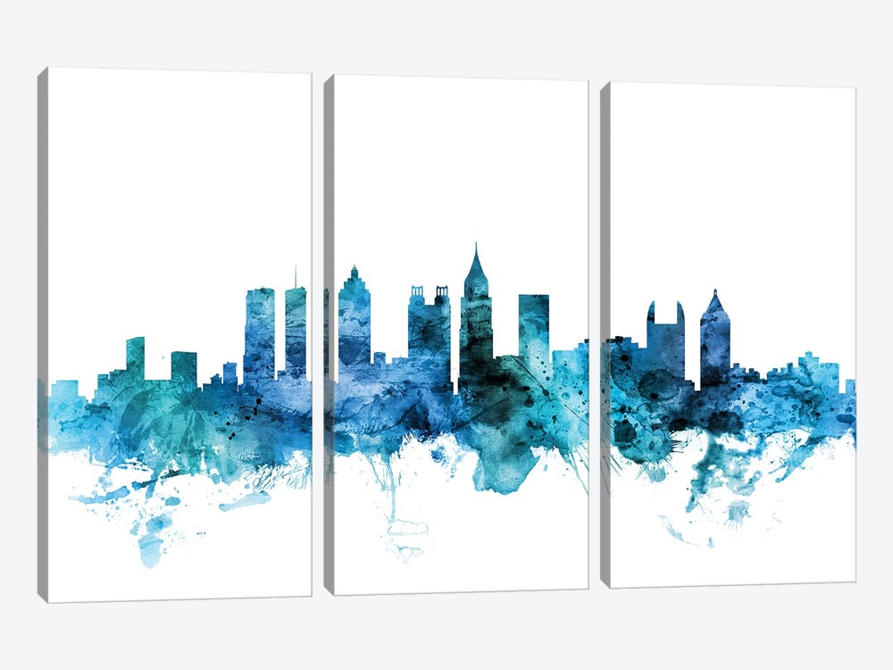 Atlanta, Georgia Skyline by Michael Tompsett 3-piece Canvas Wall Art