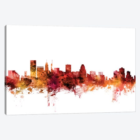 Baltimore, Maryland Skyline Canvas Print #MTO1222} by Michael Tompsett Canvas Artwork