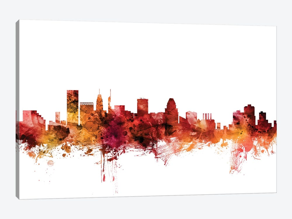 Baltimore, Maryland Skyline by Michael Tompsett 1-piece Canvas Wall Art