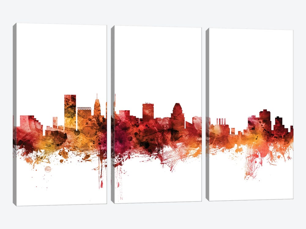 Baltimore, Maryland Skyline by Michael Tompsett 3-piece Canvas Art
