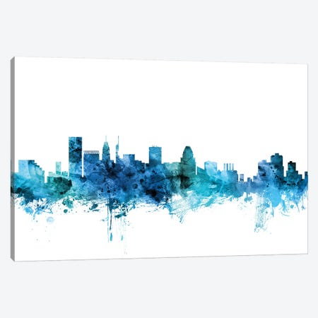 Baltimore, Maryland Skyline Canvas Print #MTO1223} by Michael Tompsett Canvas Wall Art