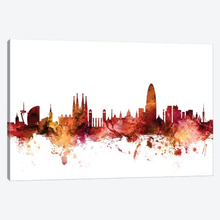 Barcelona, Spain Skyline Canvas Print #MTO1226} by Michael Tompsett Canvas Art Print