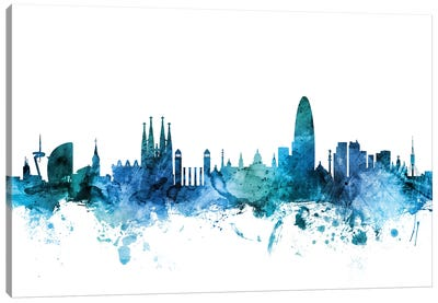 Barcelona, Spain Skyline Canvas Art Print