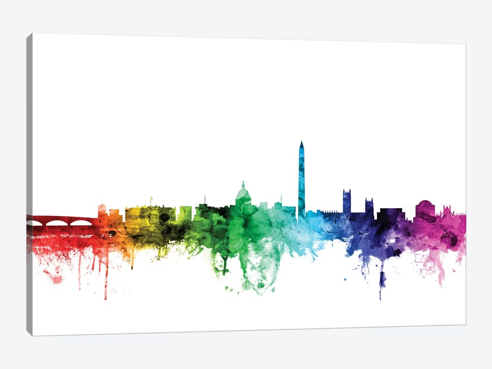 Rainbow Skyline Series: Washington, D.C., USA by Michael Tompsett 1-piece Canvas Artwork