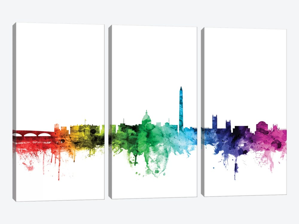 Rainbow Skyline Series: Washington, D.C., USA by Michael Tompsett 3-piece Canvas Wall Art
