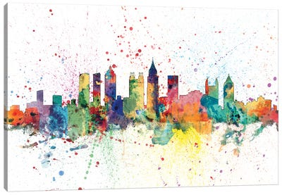 Rainbow Splash Skyline Series: Atlanta, Georgia, USA Canvas Art Print