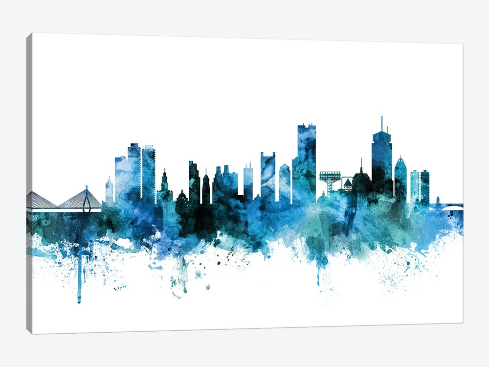 Boston, Massachusetts Skyline 1-piece Canvas Wall Art