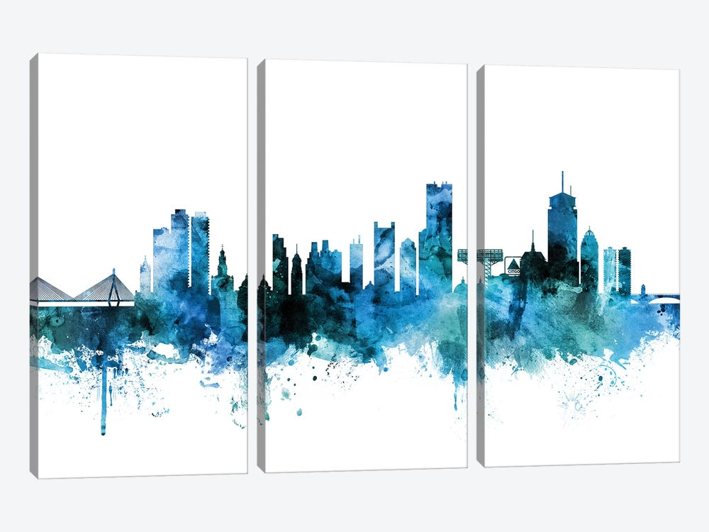 Boston, Massachusetts Skyline by Michael Tompsett 3-piece Canvas Artwork