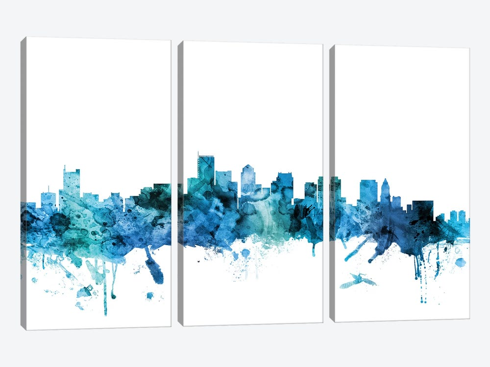 Boston, Massachusetts Skyline by Michael Tompsett 3-piece Canvas Print