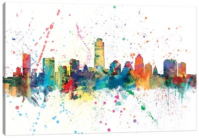 Rainbow Splash Skyline Series: Austin, Texas, USA Canvas Art Print