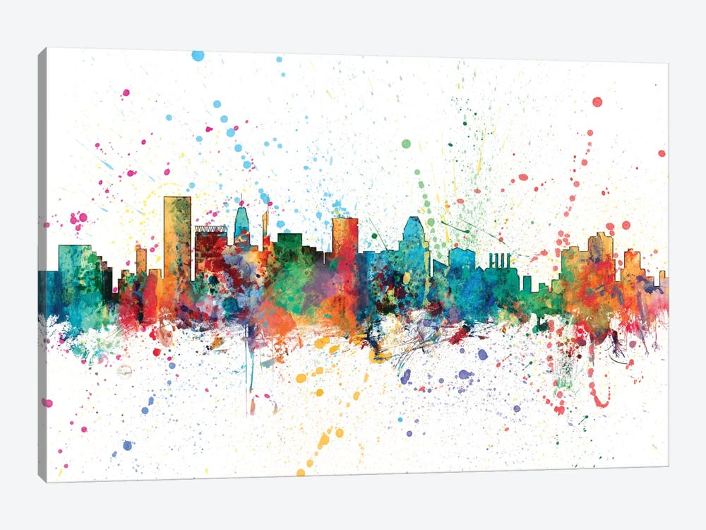 Rainbow Splash Skyline Series: Baltimore, Maryland, USA by Michael Tompsett 1-piece Canvas Art Print