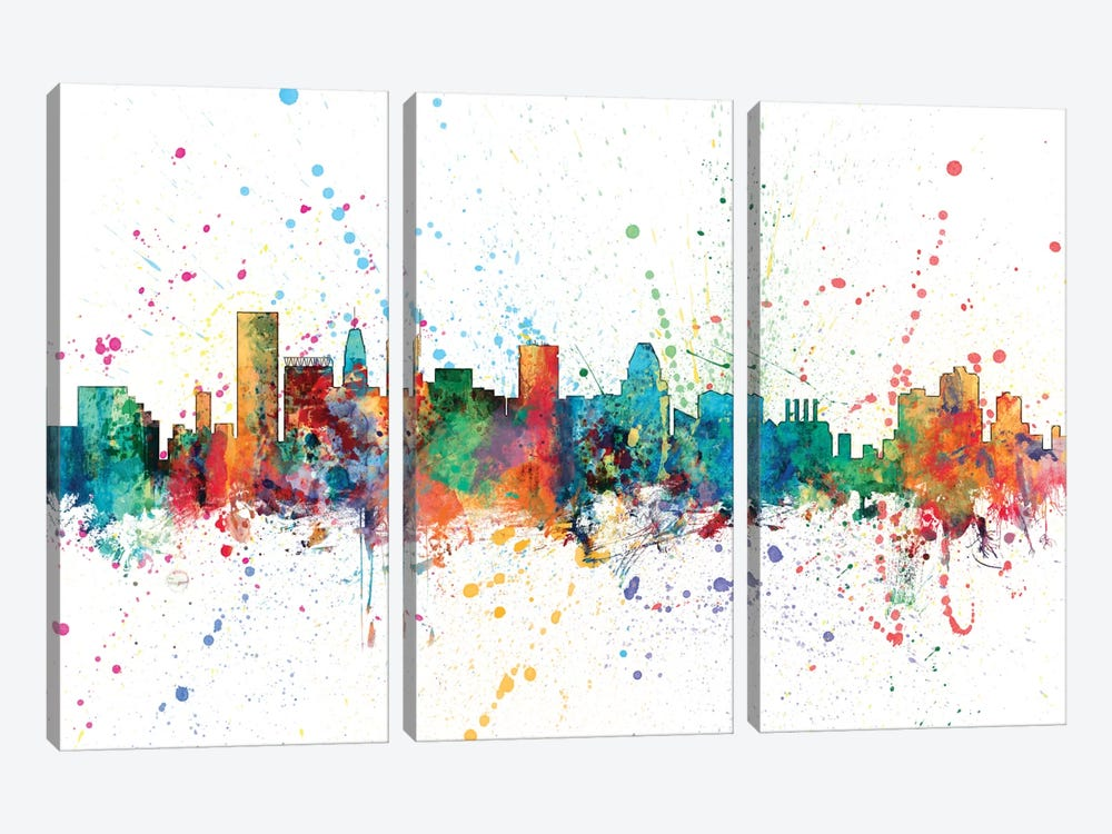Rainbow Splash Skyline Series: Baltimore, Maryland, USA by Michael Tompsett 3-piece Canvas Print