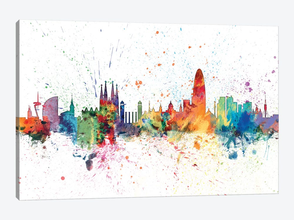 Rainbow Splash Skyline Series: Barcelona, Spain by Michael Tompsett 1-piece Canvas Wall Art