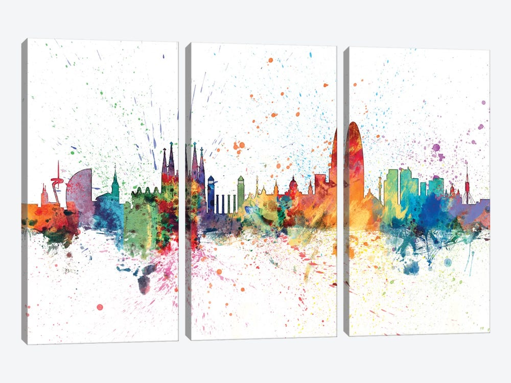 Rainbow Splash Skyline Series: Barcelona, Spain by Michael Tompsett 3-piece Canvas Wall Art