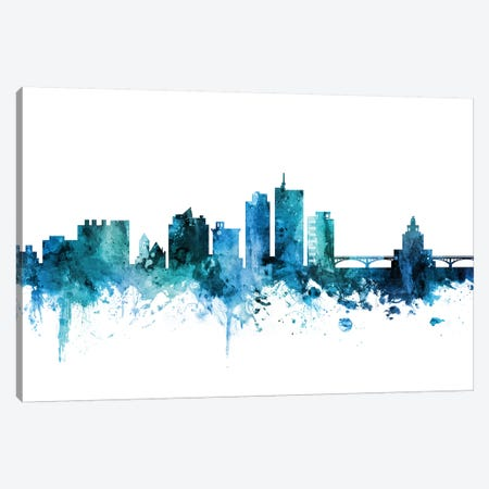 Cedar, Rapids Iowa Skyline Canvas Print #MTO1278} by Michael Tompsett Canvas Print