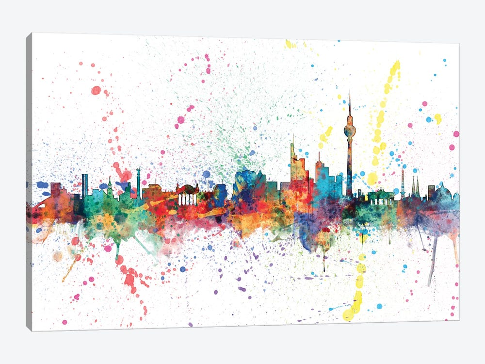 Rainbow Splash Skyline Series: Berlin, Germany by Michael Tompsett 1-piece Art Print