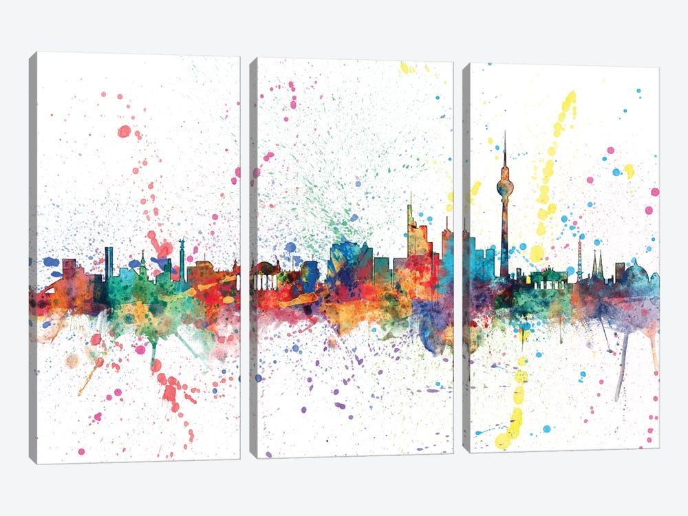 Rainbow Splash Skyline Series: Berlin, Germany by Michael Tompsett 3-piece Canvas Print