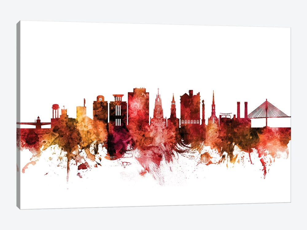 Charleston, South Carolina Skyline by Michael Tompsett 1-piece Canvas Artwork