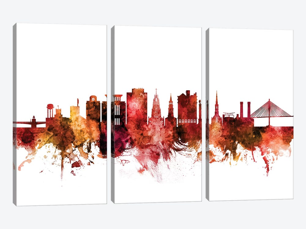 Charleston, South Carolina Skyline by Michael Tompsett 3-piece Canvas Artwork