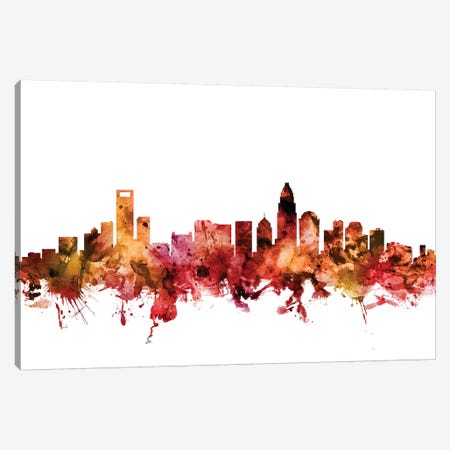 Charlotte, North Carolina Skyline 3-Piece Canvas #MTO1281} by Michael Tompsett Canvas Art
