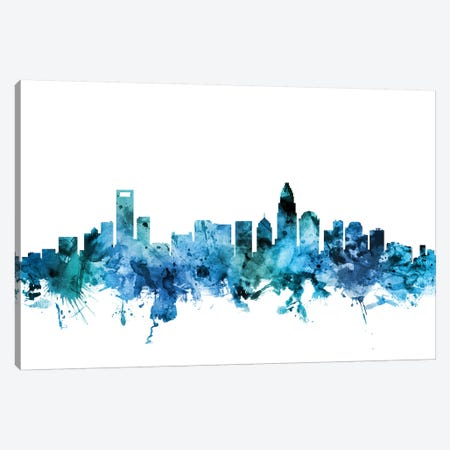 Charlotte, North Carolina Skyline Canvas Print #MTO1282} by Michael Tompsett Canvas Artwork