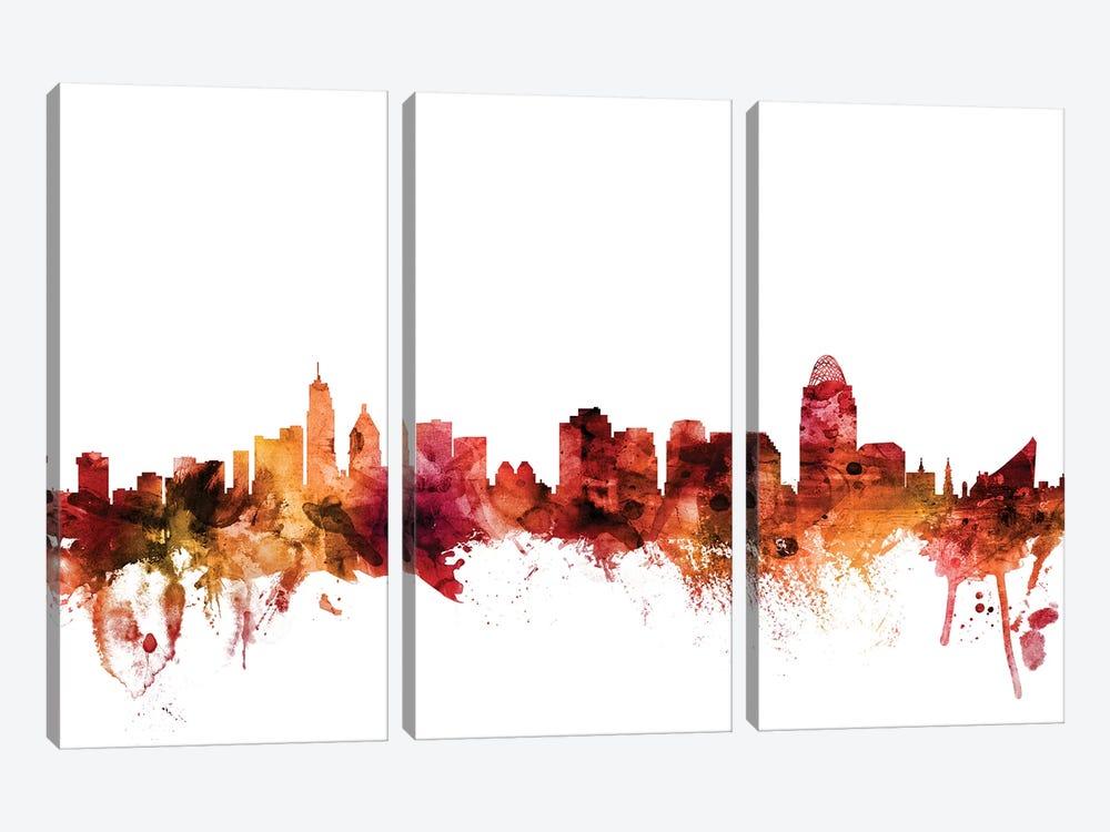 Cincinnati, Ohio Skyline by Michael Tompsett 3-piece Canvas Wall Art