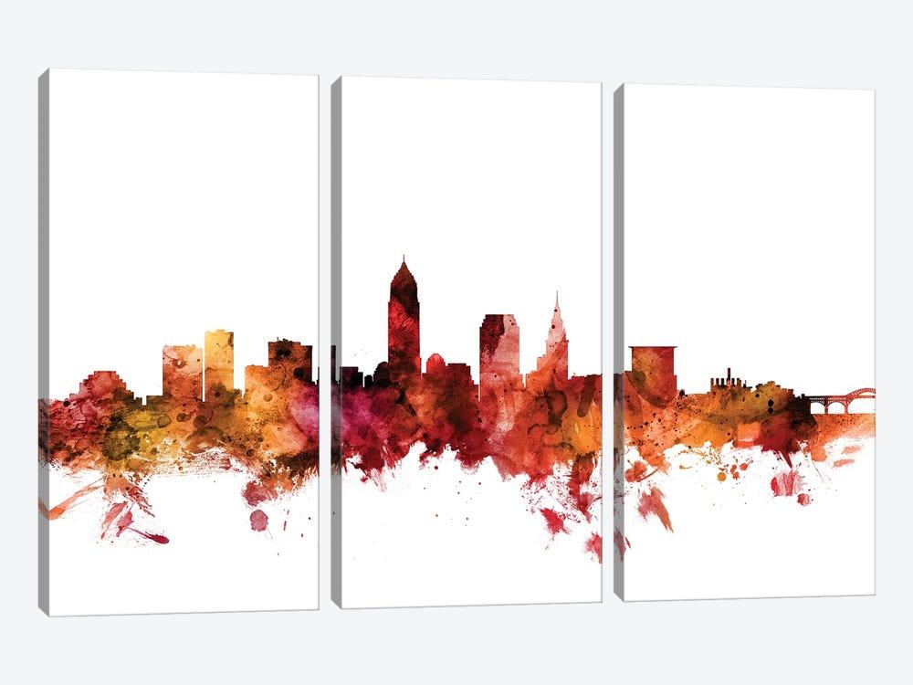 Cleveland, Ohio Skyline by Michael Tompsett 3-piece Canvas Wall Art