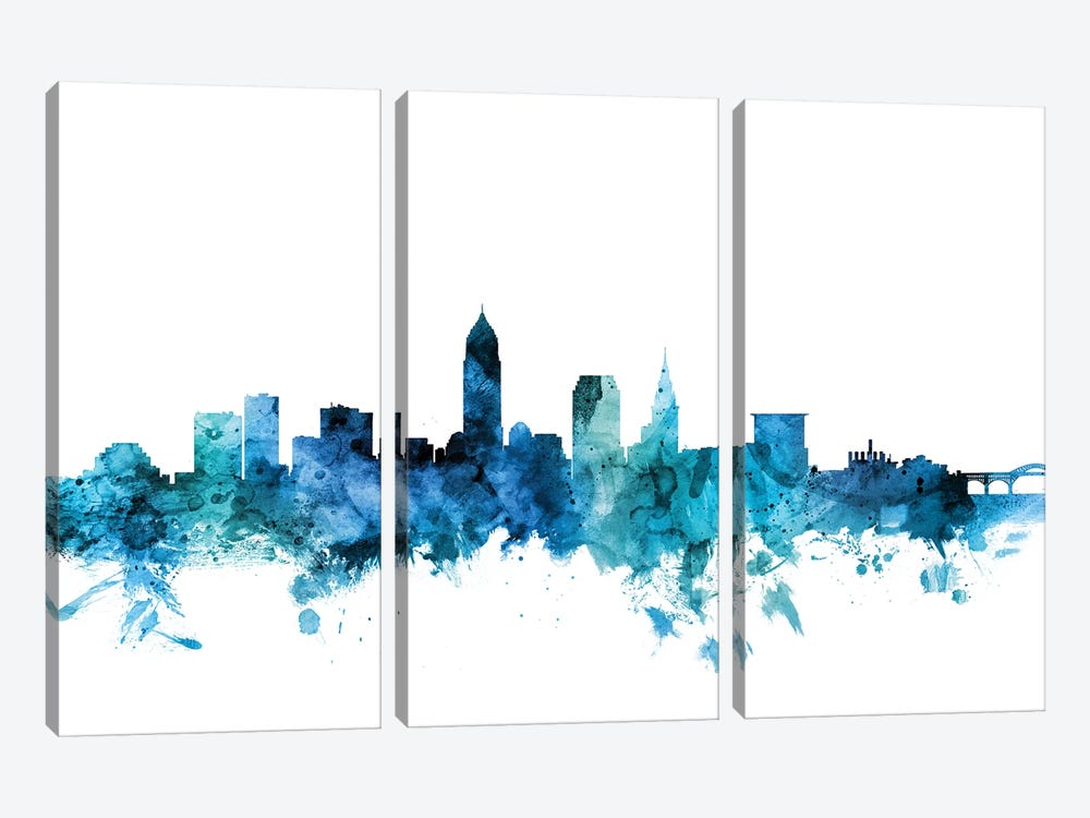 Cleveland, Ohio Skyline by Michael Tompsett 3-piece Canvas Art Print